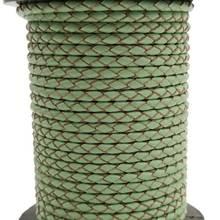 1 Yard 3mm rond menthe tressé véritable cuir Bracelet Bolo, 3mm tresse cuir cordon pour la fabrication de bijoux pour Bracelet à bricoler soi-même bijoux