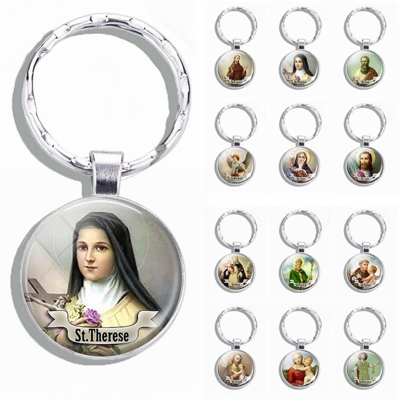 Church Souvenir St Therese Michael Anthony Joseph Keychain Glass Keyring Jewelry Saint Religious Christianity Catholicism Gif