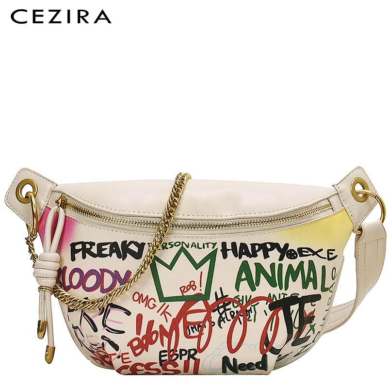 Женские Сумки из искусственной кожи CEZIRA, дизайнерские дорожные нагрудные сумки с граффити для девушек 2020