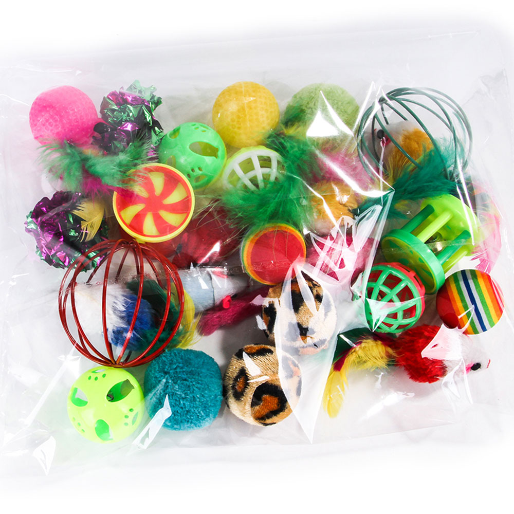 Variety Funny Pet Toy Cat Toy Bell Ball Feather Stick Cat Playing Kitten Toy Cave Tunnel False Mouse 30pcs Combination Set