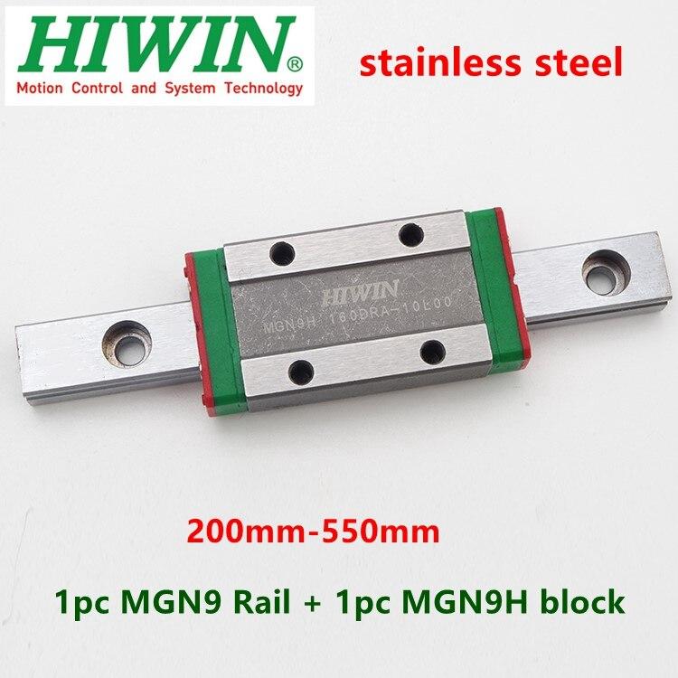 1 unidad HIWIN guía lineal de acero inoxidable MGN9 250 300 330 350 400 450 500 550 mm riel + 1 pieza MGN9H bloque deslizante para impresora 3D CNC