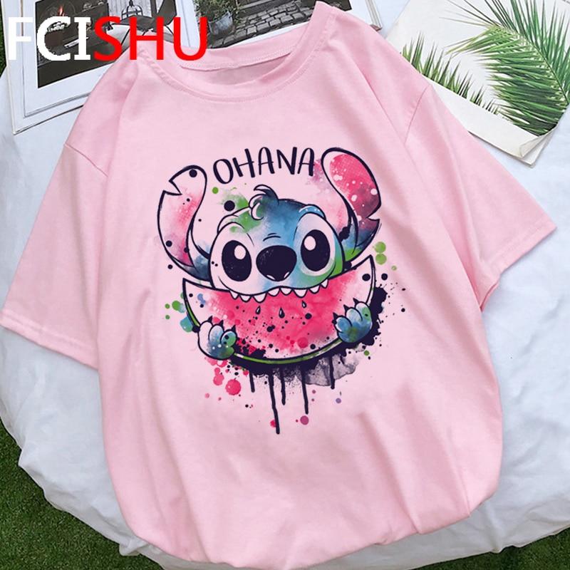 Лило Ститч кавайи забавная мультяшная футболка для женщин Ohana Ститч графическая футболка Милая аниме оверсайз футболка летние футболки для женщин