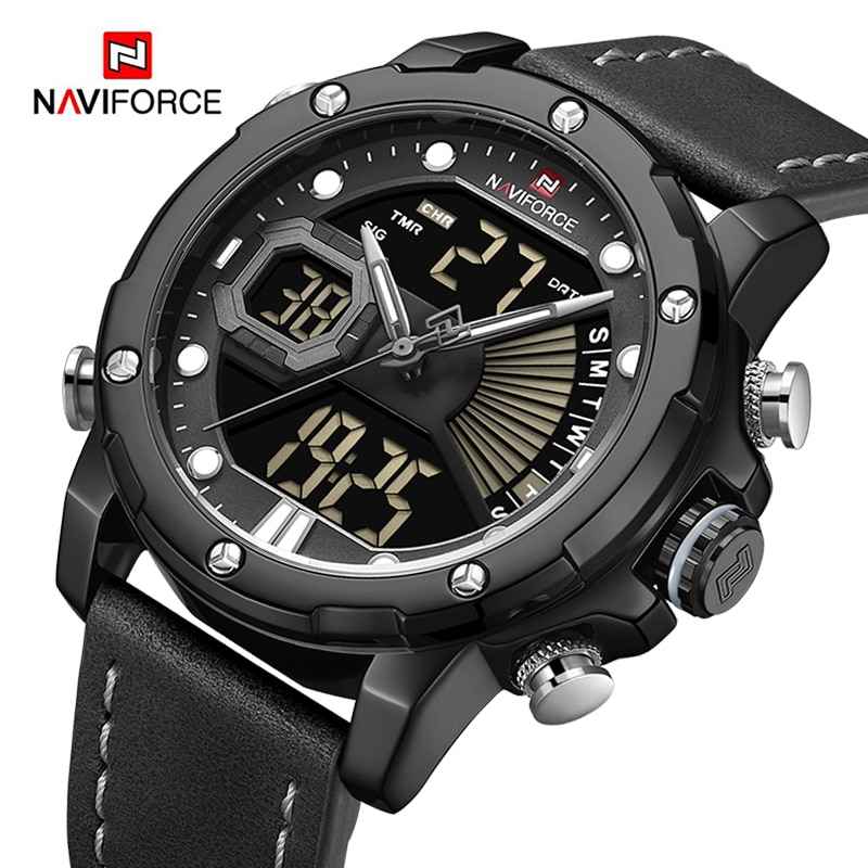Direct Selling NAVIFORCE Best Men Quartz Led Digital Watch Dual Time Casual Fashion Leather Strap Waterproof Watches