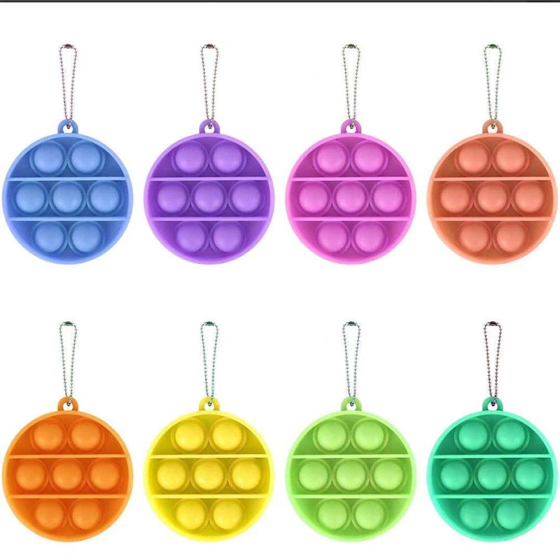 10pcs Mini Push Pop Bubble Sensory Toy Autism Needs Squishy Stress Reliever Toys Anti-stress Pop It Fidget Keychain Kids Gift enlarge