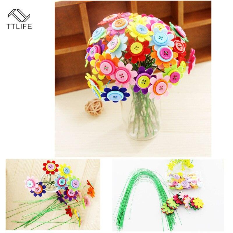 TTLIFE Kit de ramos de fieltro con botones para manualidades, juguete infantil con pétalos, 40 botones de alambre de hierro para jardín de infantes, flores de 8 pétalos