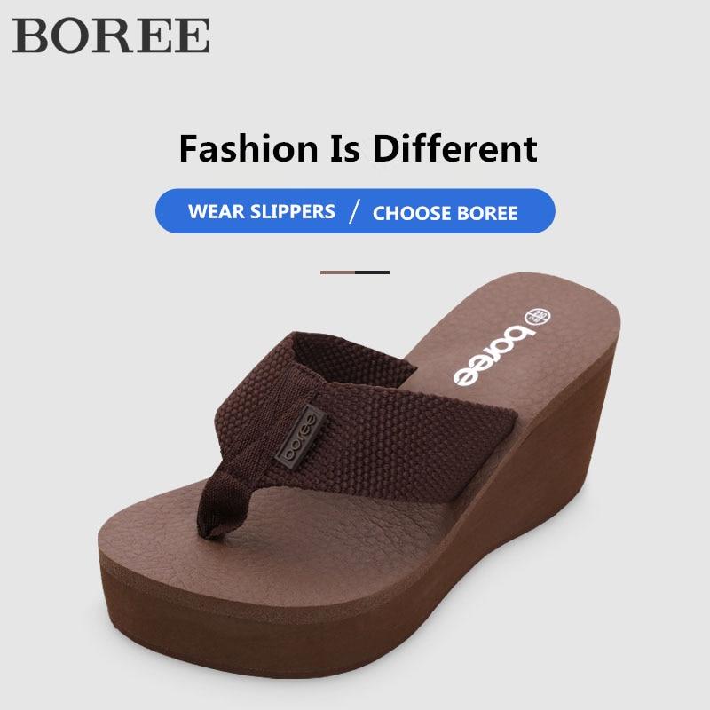 Boree flip flops sapatos femininos sandálias de praia cunha plataforma luz plus size sapatos antiderrapantes chinelos dames teenchinelo zomer 2020