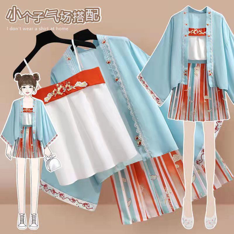 Винтажные костюмы для девочек, рубашка, юбка, куртки в китайском стиле, кавайная одежда, костюм, улучшенная традиционная китайская одежда дл...