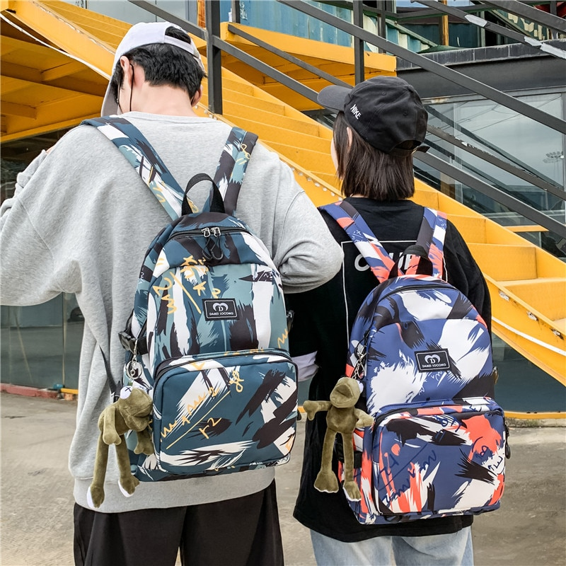 Schoolbag In Vogue Harajuku Fashion Trend Backpack for Men and Women Simple Leisure Travel Bag for Students Graffiti Backpack backpack male korean students leisure business computer travel men and women backpack