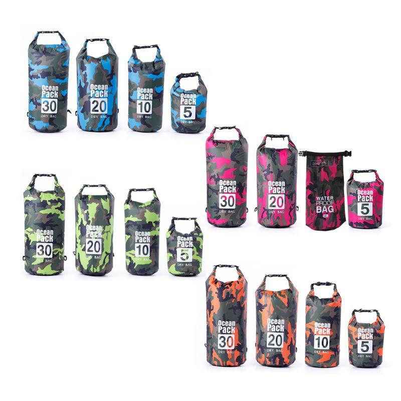 2020 nueva bolsa seca impermeable de 4 colores para hombres y mujeres, 5L/10L/20L/30L Roll Top ligero