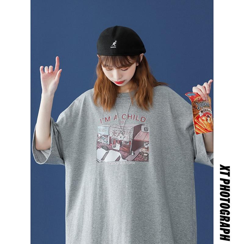 plus size cotton Anime t-shirt women tops breathable quality Harajuku female fashion loose oversize