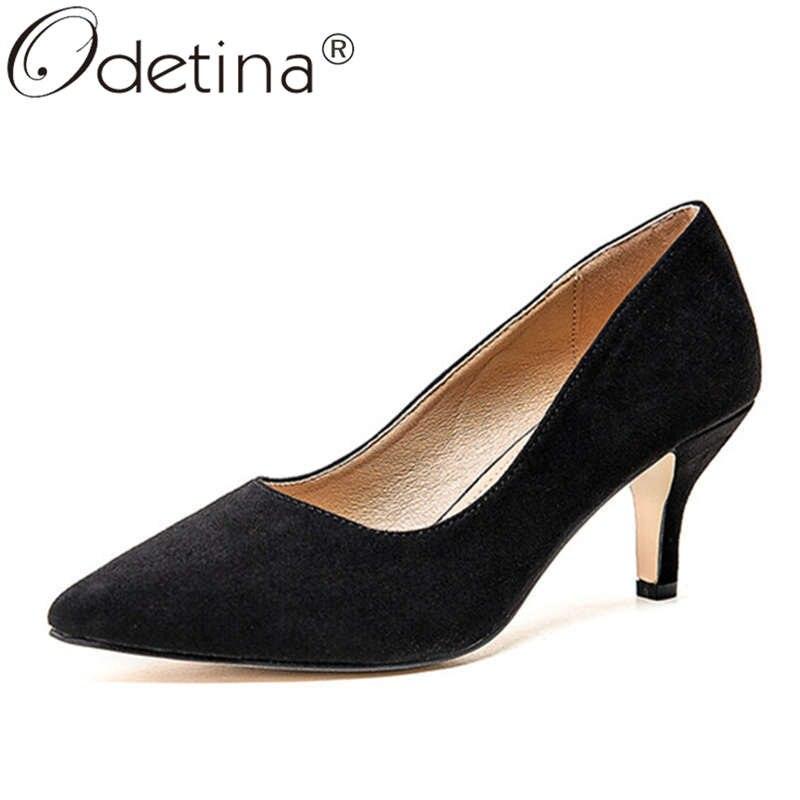 Odetina, moda para mujer, zapatos de tacón alto para oficina, zapatos de tacón alto para mujer, zapatos de tacón de imitación Retro de gamuza con dedos de almendra, zapatos de tacón clásicos para fiesta