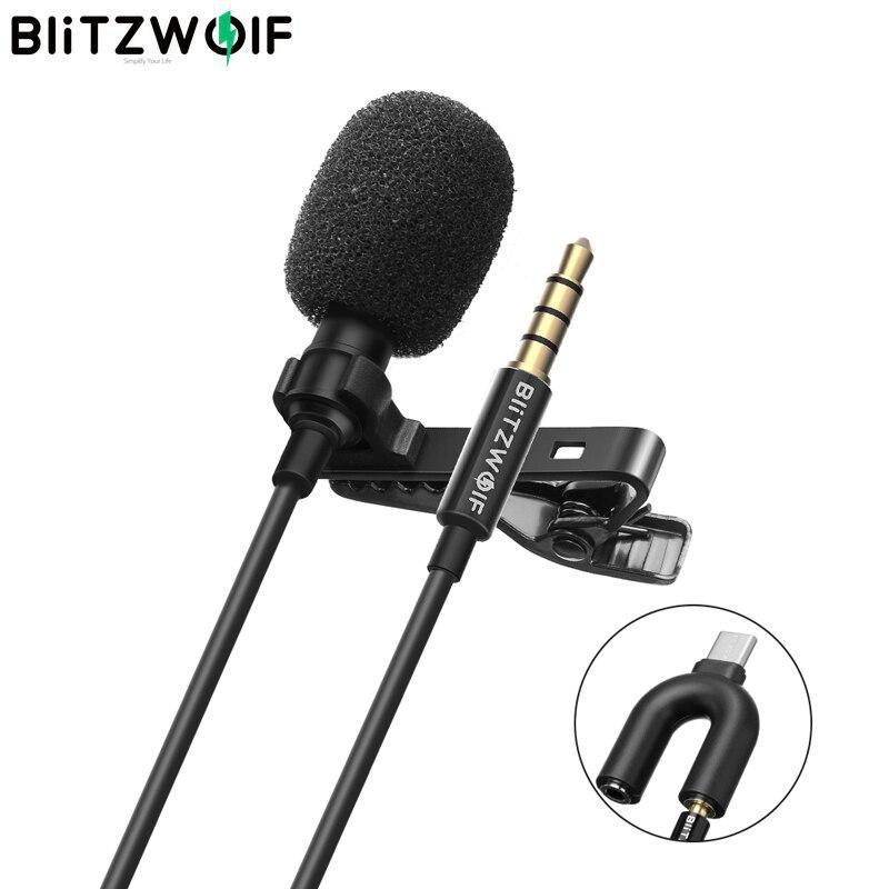 BlitzWolf BW CM1 Мини 3,5 мм всенаправленный петличный кардиоидный микрофон hi fi звук Шум со снижением уровня для DJI Осмо камера