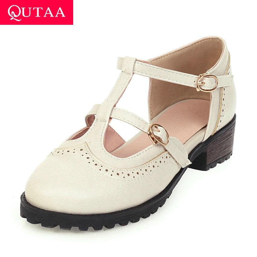 QUTAA 2020 t-strap PU cuir femmes chaussures Mary Janes bout rond dames pompes talon carré antidérapant boucle unique chaussures taille 34-43