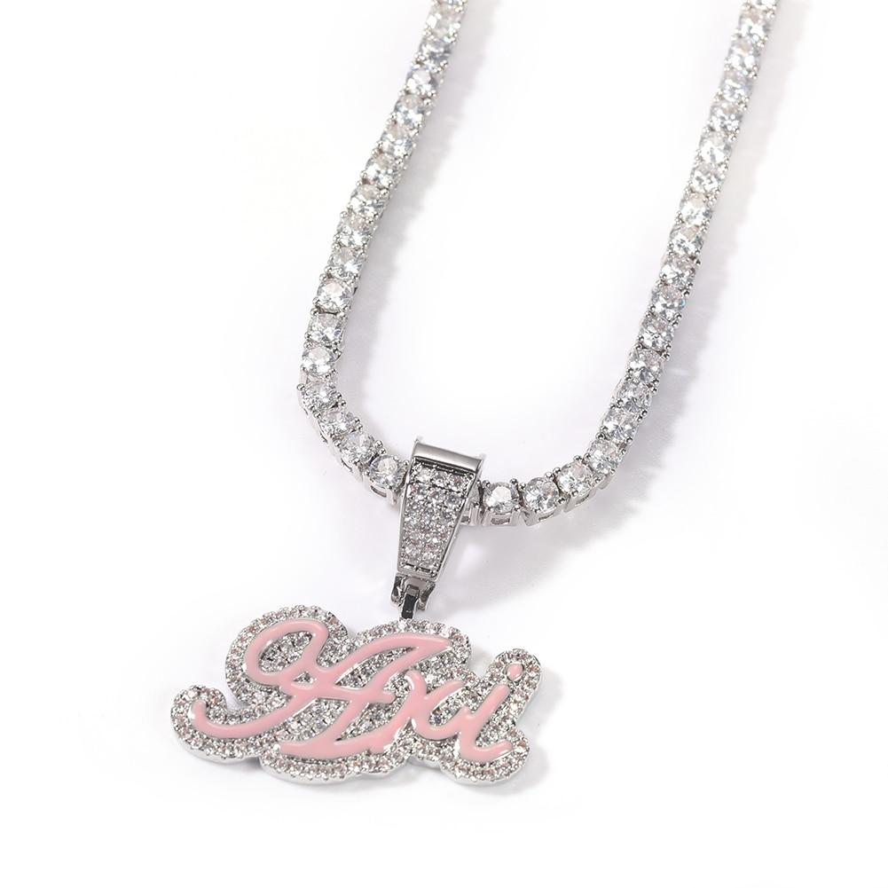 UWIN Custom Enamel Pendant Name Necklace Iced Cubic Zirconia Jewelry DIY Hip Hop Jewelry Name Pendants for Gifts
