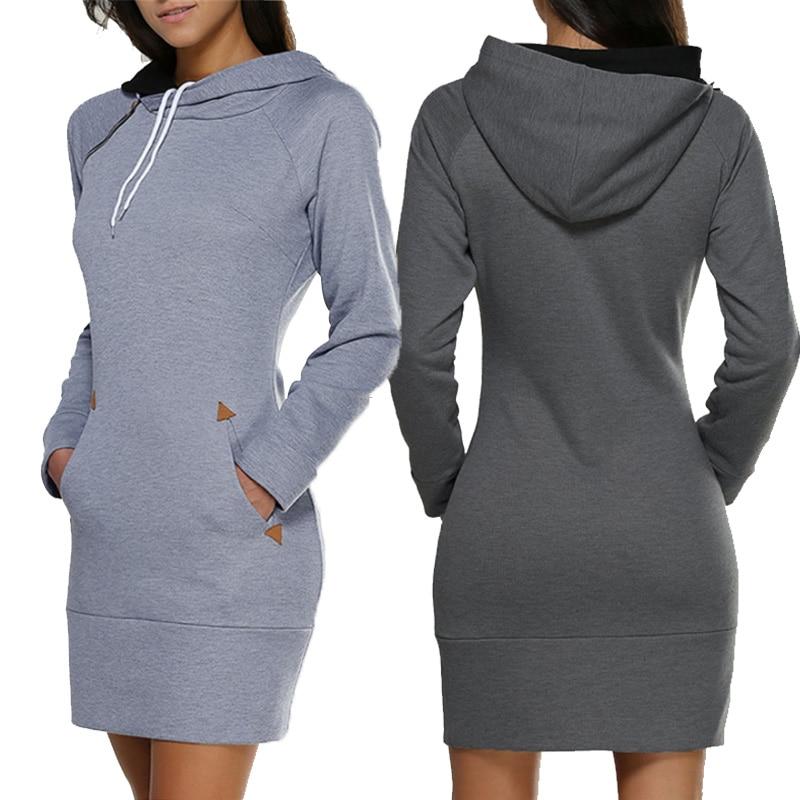 Женская Длинная толстовка с капюшоном, однотонная элегантная толстовка, весенне-осеннее платье с капюшоном, женская повседневная одежда