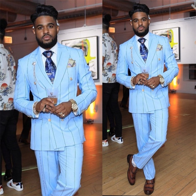 2 Pieces Pinstripe Men Suits Light Blue Groom Tuxedos Lapel Modern Formal Double Breasted Men Coat+Pant Custom Made Party Suit