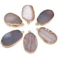 natural stone pendants irregular egg shape grey geode agates stone pendant charms for jewelry making necklace bracelet gift