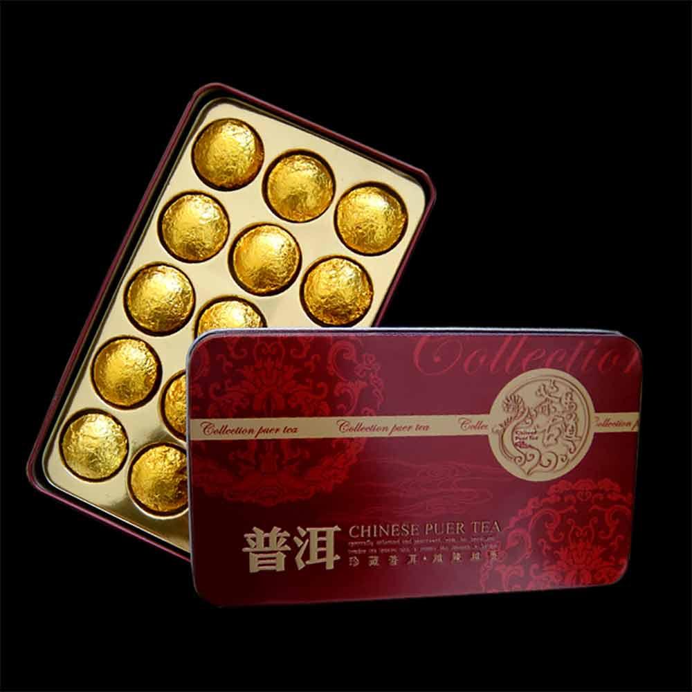 2019 Yr Mini Shu Pu-erh Tuocha de oro la hoja de lata de embalaje maduro Pu-erh té 75g regalo