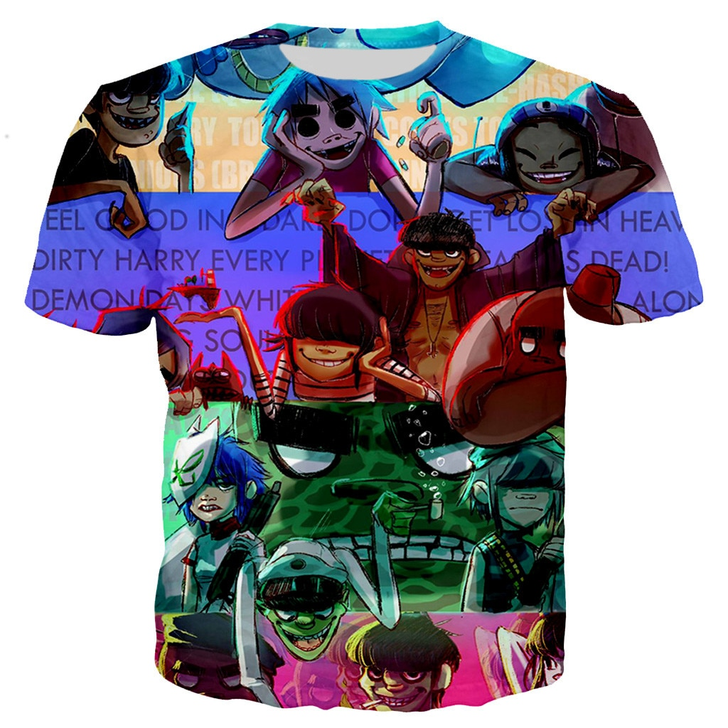 Gorillaz nova moda legal 3d impresso t-shirts estilo casual tshirt streetwear topos dropshipping