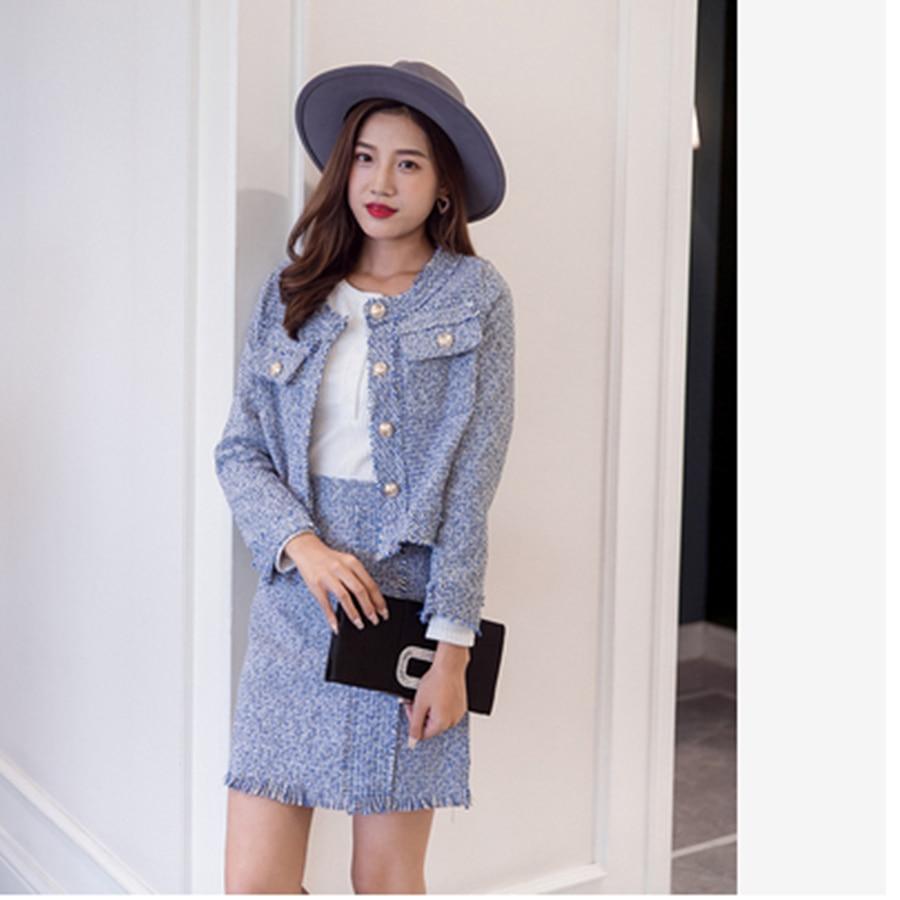 2020 Newest Autumn Women Tweed Wool 2 pieces Sets Fashion Pink Plaid Slim Short Jacket Coat + Package Hip Short Skirt Suits XL