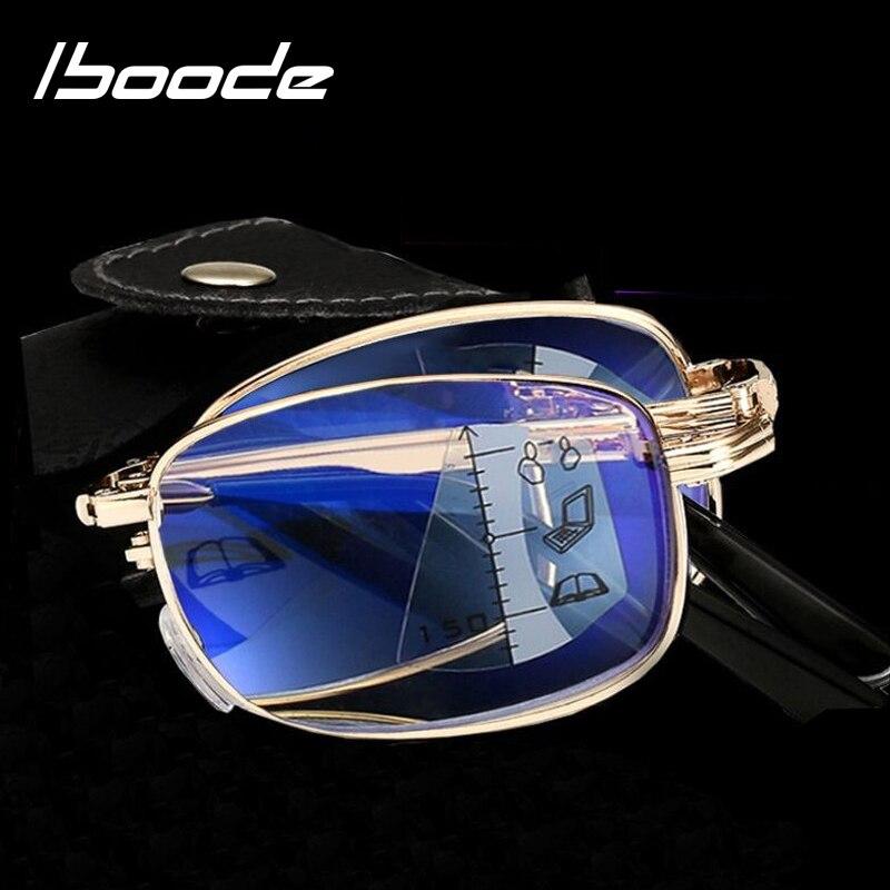 Iboode Folding Progressive Lesebrille Männer Frauen Multifokale Metall Faltbare Presbyopie Brille Dioptrien + 1,0 1,50 2,0 2,5 3,0