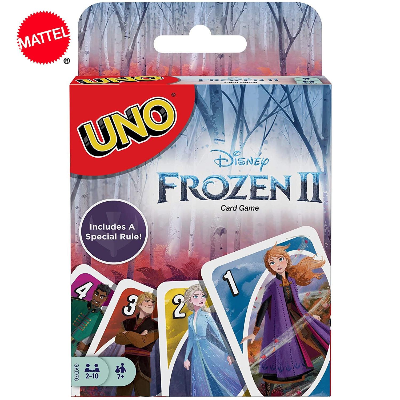 Juego de mesa Mattel UNO Frozen Family, diversión divertida, juego de mesa, cartas de póker, caja de regalo, juego de cartas Uno