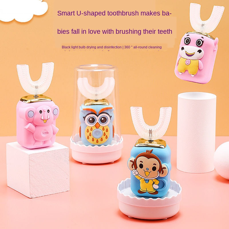 Waterproof Sonic Rechargeable Electric Toothbrush with Replacement Brush Heads Brushing Children Cartoon Pattern Home Health