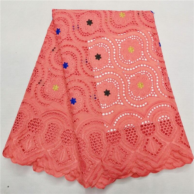 Gasa de encaje suizo brode de algodón africanos de algodón tela de encaje dentelle tissu encuentro gele headtie de encaje de alta calidad para el vestido H14-68