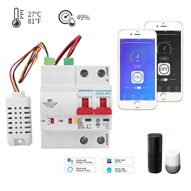 قاطع دائرة مراقبة درجة الحرارة والرطوبة ، wi-fi ، لـ Alexa و Google home ، للمنزل الذكي