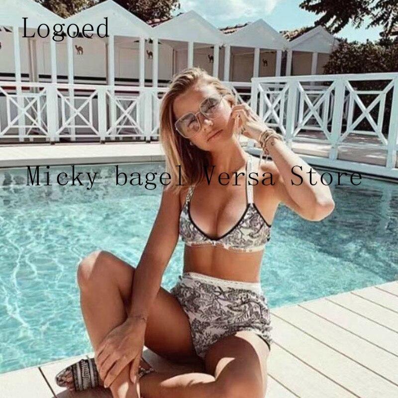 21 luxury design retro printing fashion women's knitted swimsuit sexy slim off shoulder suspender underwear + High Waist Shorts
