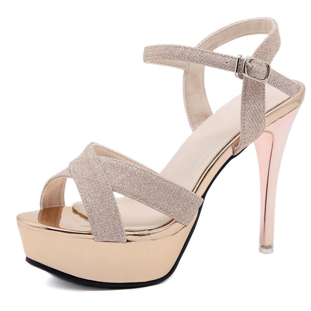 Новые водонепроницаемые сандалии с блестками на толстой подошве, туфли на шпильке вечерние женские туфли на высоком каблуке для вечеринки ...