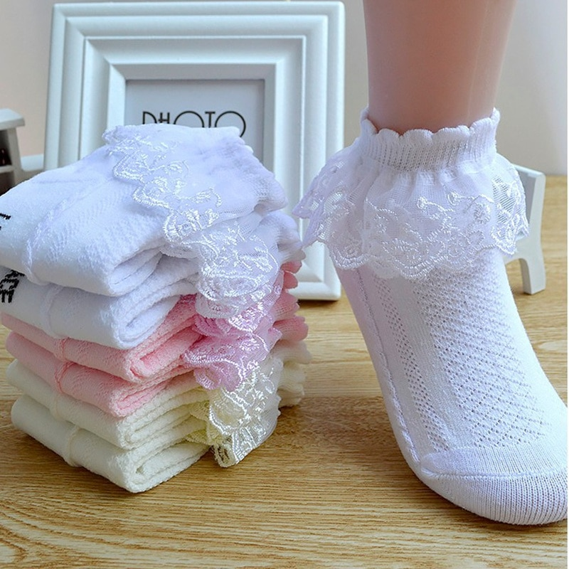 Summer Fashion Kids Socks Baby Girl Ruffle Sock Cute Baby Frilly Toddle Designer White Pink Lace Kid