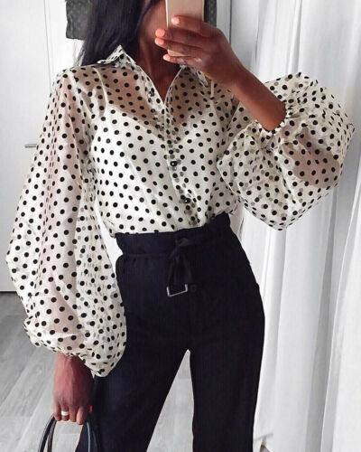 New Women Mesh Sheer Blouse See-through Lantern Long Sleeve Blouse Fashion Pearl Button Transparent White Shirt Female Blusas