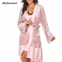 2020 nova veludo kimono roupão de banho feminino rendas sexy sleepwear primavera outono conjuntos de pijama de luxo da dama de honra robe vestidos