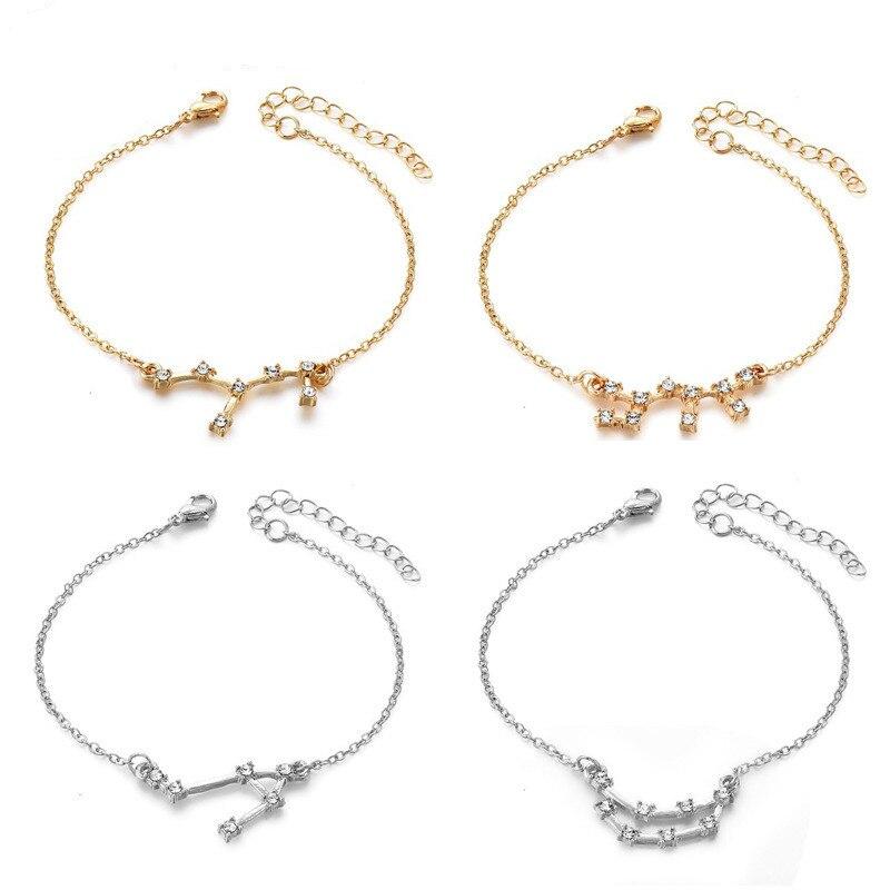 12 zodiac constellation chain pulseira para feminino geométrica strass desejo cartão pulseiras tornozeleira 2019 jóias na moda