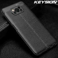 Противоударный чехол KEYSION для Xiaomi POCO X3 NFC F2 Pro F3, кожаная текстура, Мягкая силиконовая задняя крышка телефона для Redmi Note 10 10 Pro