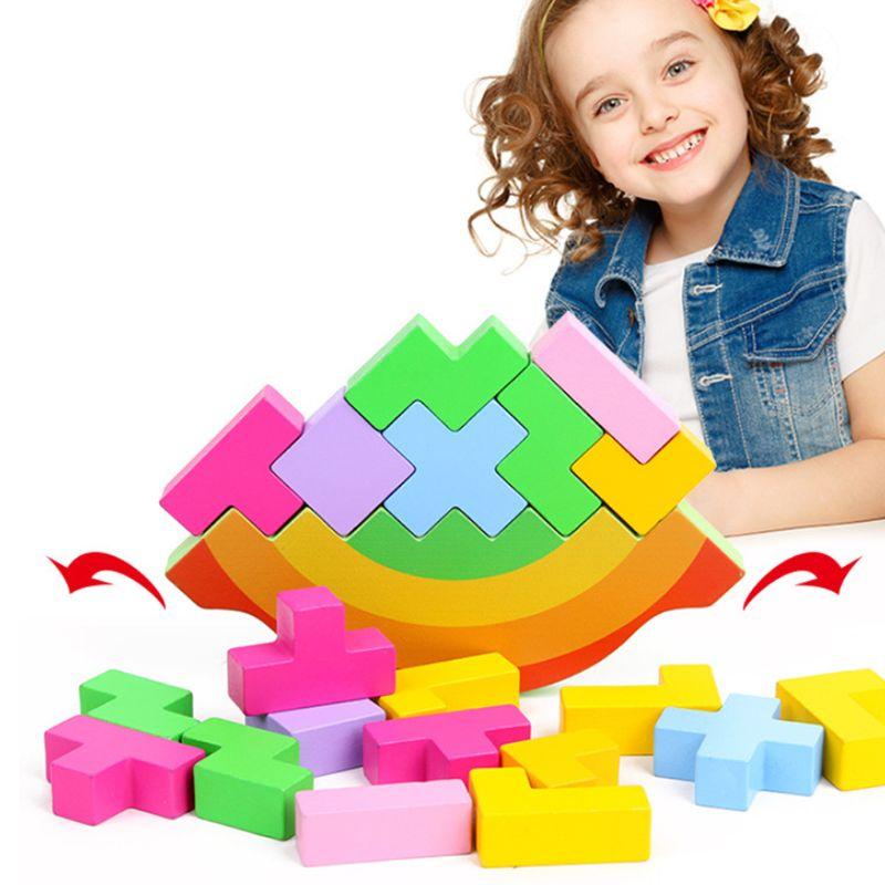 Bebê de madeira tangram cérebro teaser quebra-cabeça arco-íris equilíbrio jigsaw jogo tetris intelectual educacional bebê crianças brinquedos presente