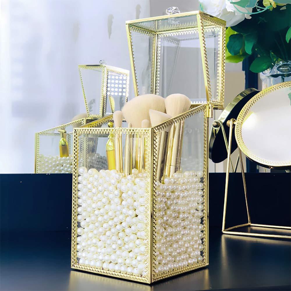 Soporte para brochas de maquillaje VINCIGANT organizador de brochas cosméticas hechas a mano almacenamiento con tapa para tocador para baño, Coun