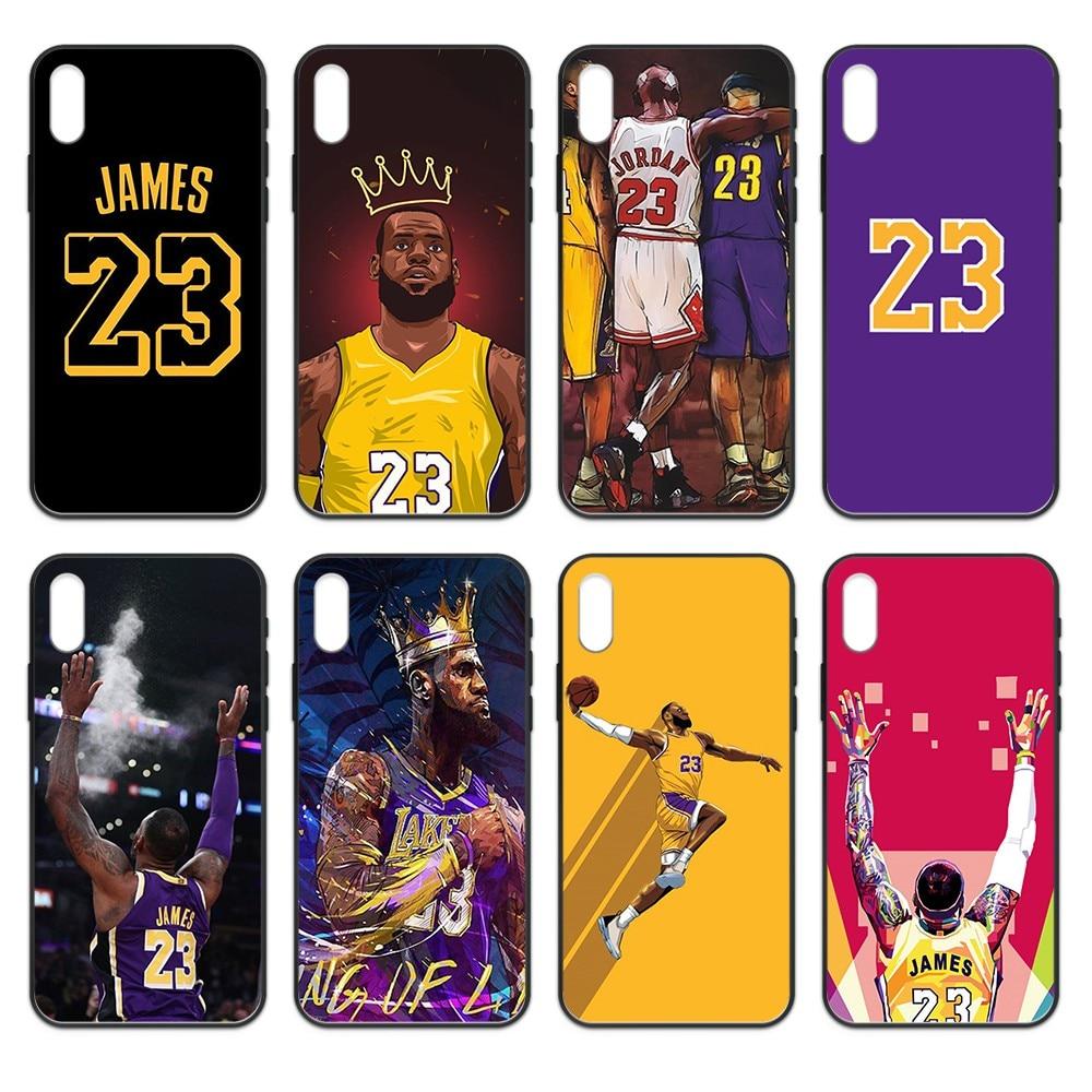 Baloncesto 23 star King James 3D shell teléfono negro teléfono caso para iphone 4 4s 5 5S SE 5C 6S 6 7 8 plus X XS X XR 11 PRO MAX 2020