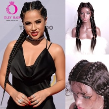 Hand Braided Black Synthetic Wig With Baby Hair  Heat Resistant 20-24 Inch Twist Braided Cosplay Wigs For Black Women OLEY