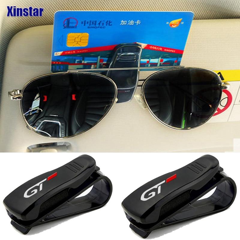 1pc GT Car Sun Visor Sunglasses Holder For Peugeot auto Accessories