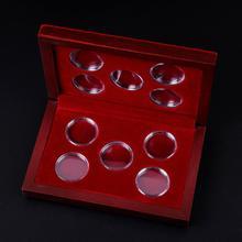 Boîtes à pièces en bois ajustables 10 pièces   Organisateur porte-conteneurs de rangement Collection anniversaire Capsule ronde