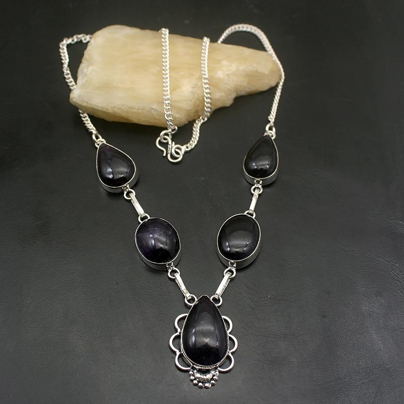 Hermosa Multi piedra charoita púrpura collar de cadena de Color de plata 20 pulgadas A903