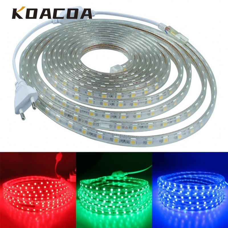 Tira de LED superbrillante AC220V, tira de LED SMD 5050, luz Flexible, luces exteriores de jardín, lámpara de decoración de vacaciones, enchufe de alimentación de la UE