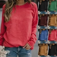 simple top solid color lady t shirt basic long sleeve casual wear shirt 5xl big size plain oversized shirt loose fashion street