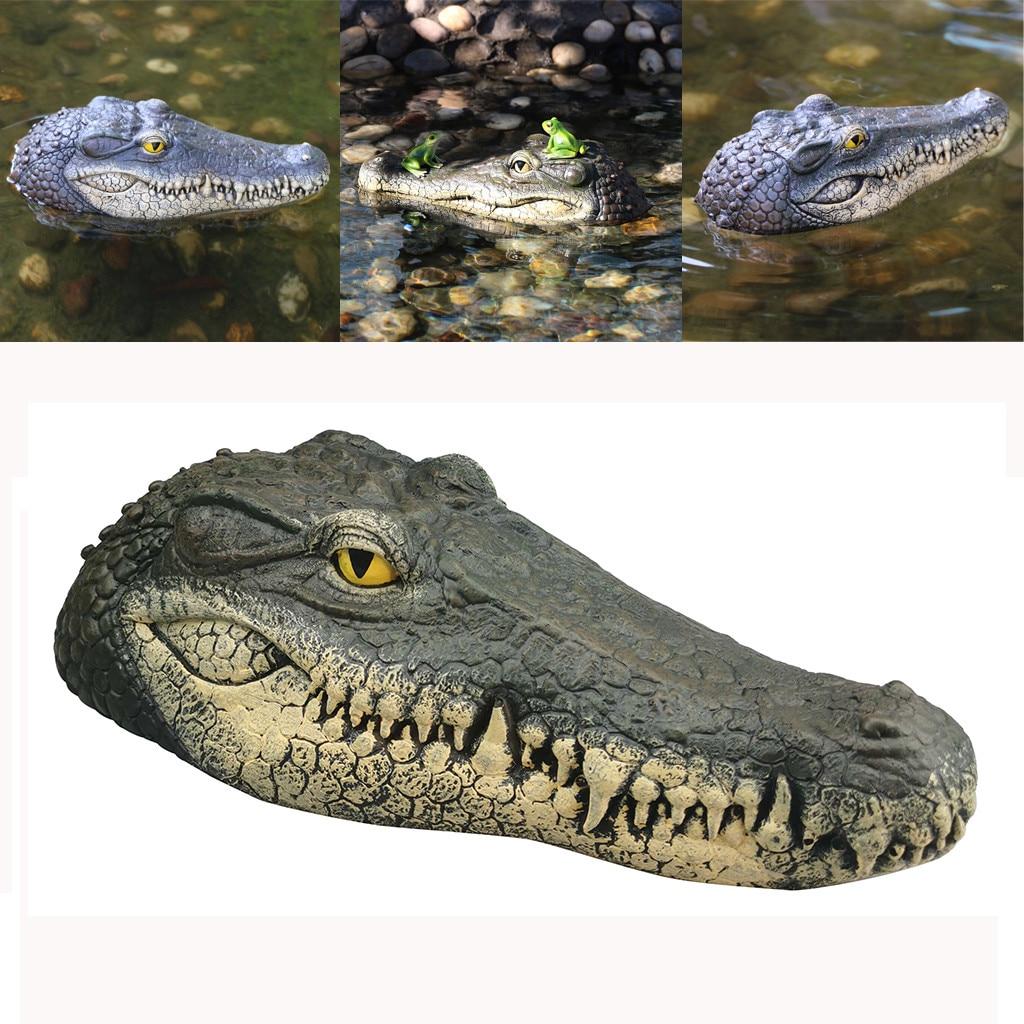 Cabeza de cocodrilo flotante, señuelo de jardín de agua, estanque, decoración artística para Predator Heron, señuelo de pato, Control de jardín, decoración del hogar, nuevo