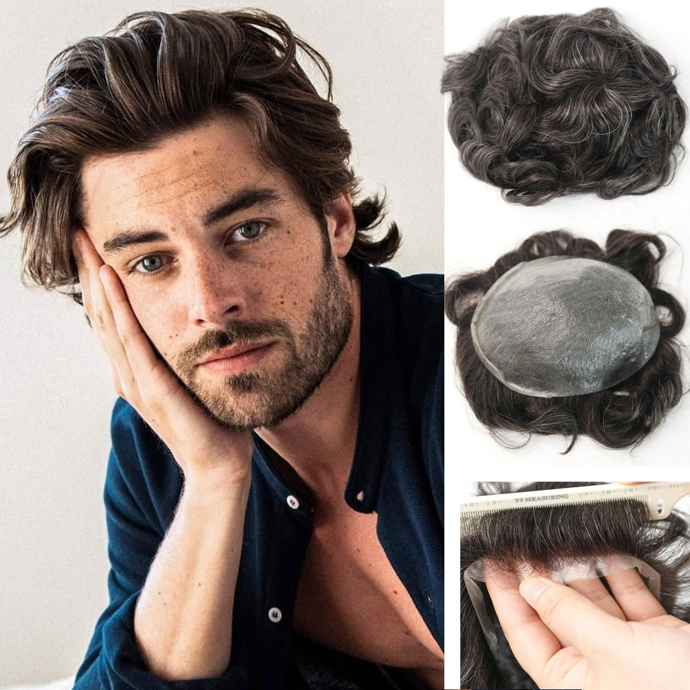 PU Thin Skin V-looped for Men European Human Hair Pieces for Men PU Thin 0.04cm Human Skin Hair Replacement System Men's Wig