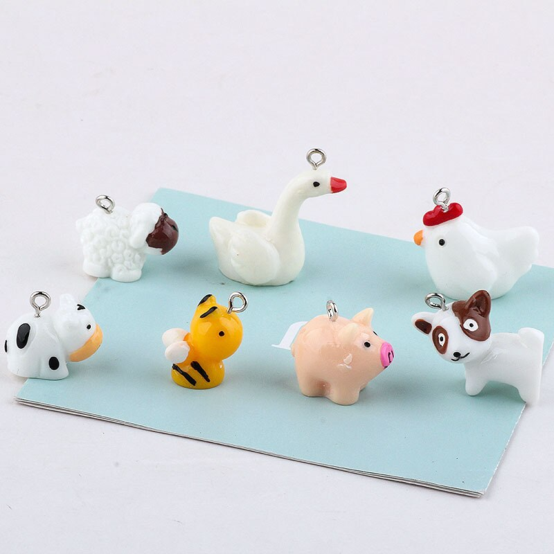 Animal familia abeja perro vaca pollo cerdo abalorios de resina pendiente DIY accesorios de joyería de moda tan lindo