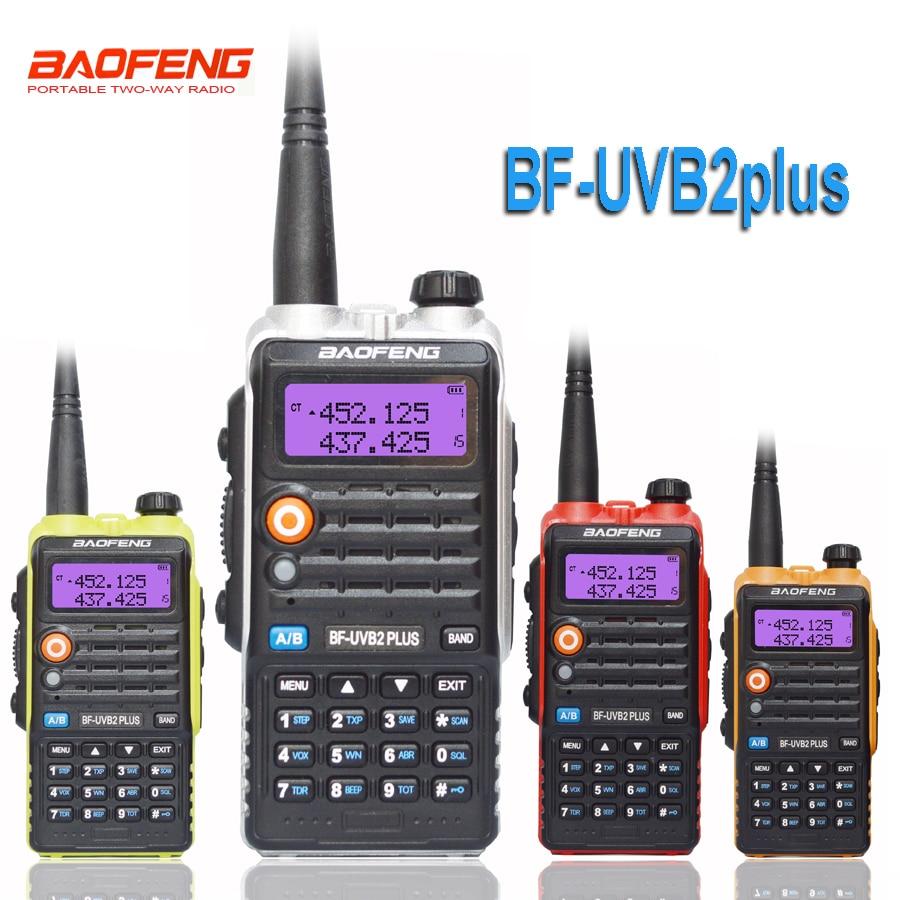 Baofeng uvb2 plus UV-B2 rádio bidirecional banda dupla vhf/uhf walkie-talkie 128ch interfone BF-UVB2 ham cb rádio transceptor portátil