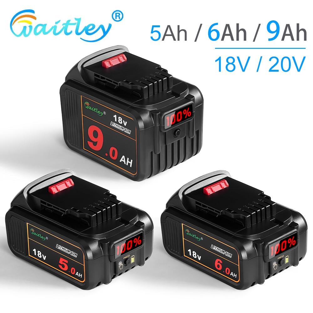 Waitley 18 فولت 5Ah 6Ah بطارية ليثيوم ل ديوالت أدوات كهربائية DCB184 DCB200 قابلة للشحن أداة كهربائية مجموعة 20 فولت 18 فولت 18 فولت 9000 مللي أمبير